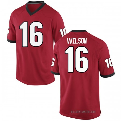 Men's Nike Divaad Wilson Georgia Bulldogs Game Red Football College Jersey