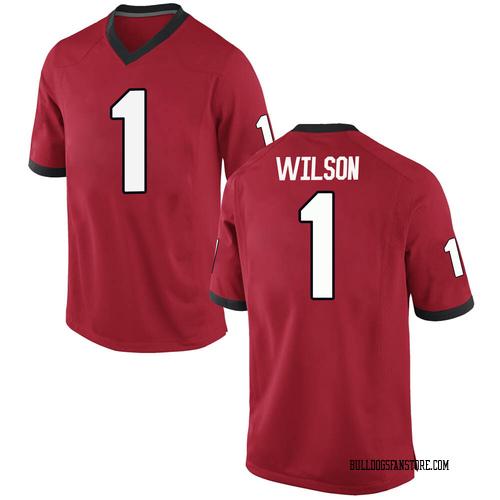 Men's Nike Divaad Wilson Georgia Bulldogs Game Red Football College Jersey