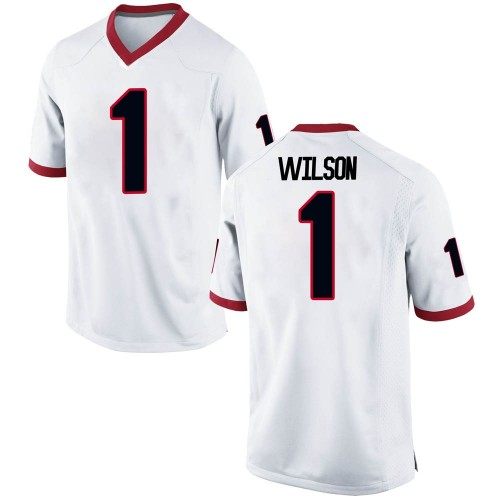 Men's Nike Divaad Wilson Georgia Bulldogs Game White Football College Jersey