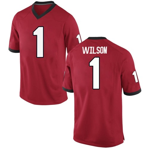 Men's Nike Divaad Wilson Georgia Bulldogs Replica Red Football College Jersey