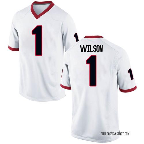 Men's Nike Divaad Wilson Georgia Bulldogs Replica White Football College Jersey