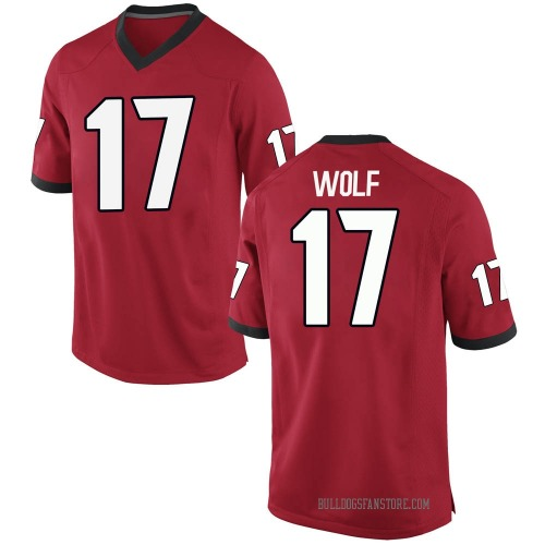 Men's Nike Eli Wolf Georgia Bulldogs Replica Red Football College Jersey