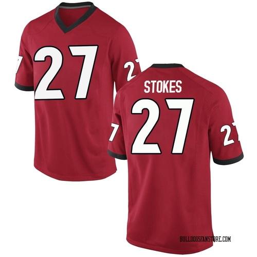 Men's Nike Eric Stokes Georgia Bulldogs Game Red Football College Jersey