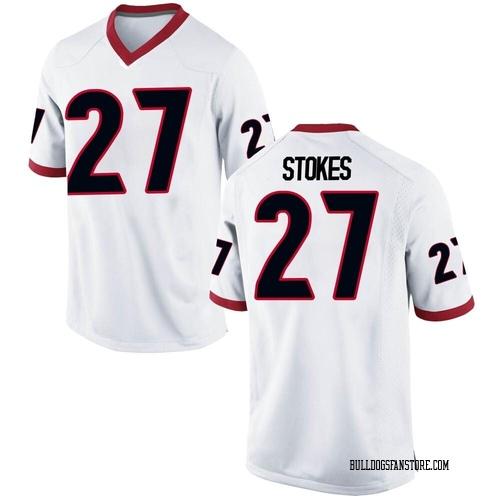 Men's Nike Eric Stokes Georgia Bulldogs Game White Football College Jersey