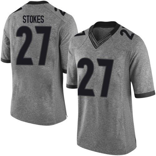 Men's Nike Eric Stokes Georgia Bulldogs Limited Gray Football College Jersey