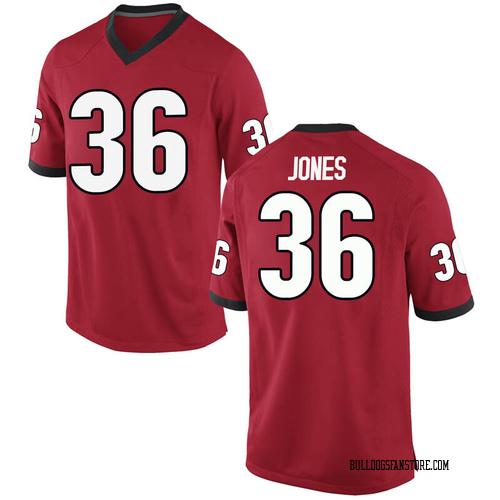 Men's Nike Garrett Jones Georgia Bulldogs Game Red Football College Jersey