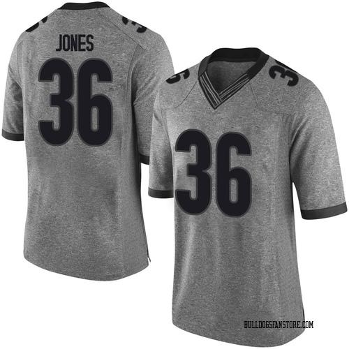 Men's Nike Garrett Jones Georgia Bulldogs Limited Gray Football College Jersey