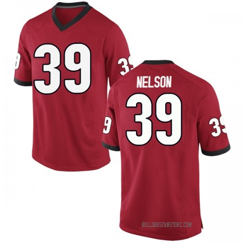 Men's Nike Hugh Nelson Georgia Bulldogs Game Red Football College Jersey