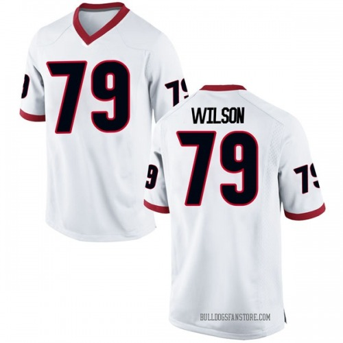 Men's Nike Isaiah Wilson Georgia Bulldogs Game White Football College Jersey