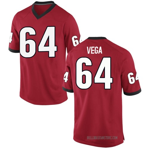 Men's Nike JC Vega Georgia Bulldogs Replica Red Football College Jersey