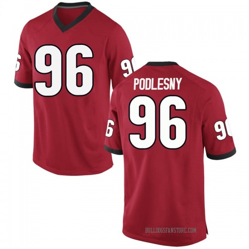 Men's Nike Jack Podlesny Georgia Bulldogs Game Red Football College Jersey