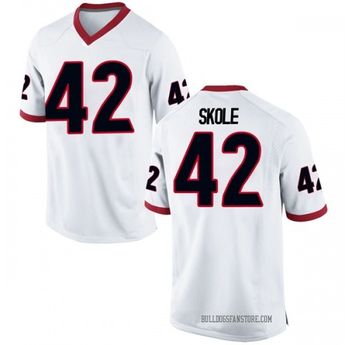 Men's Nike Jake Skole Georgia Bulldogs Game White Football College Jersey