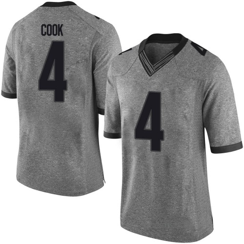 Men's Nike James Cook Georgia Bulldogs Limited Gray Football College Jersey