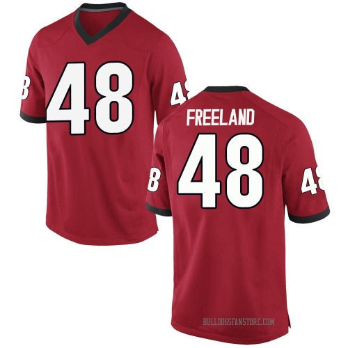 Men's Nike Jarrett Freeland Georgia Bulldogs Game Red Football College Jersey