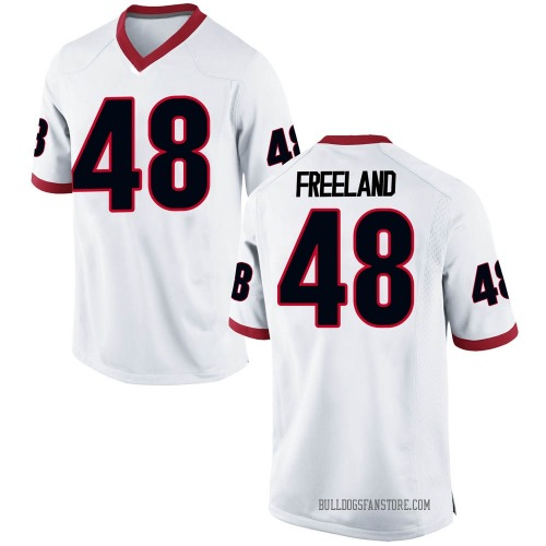 Men's Nike Jarrett Freeland Georgia Bulldogs Game White Football College Jersey