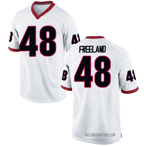 Men's Nike Jarrett Freeland Georgia Bulldogs Replica White Football College Jersey