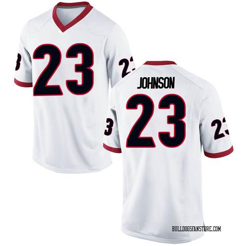 Men's Nike Jaylen Johnson Georgia Bulldogs Game White Football College Jersey
