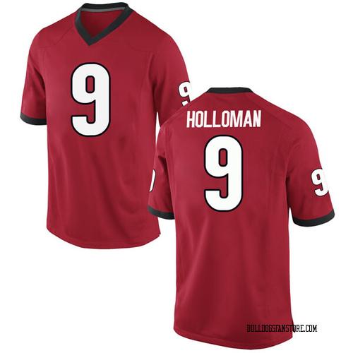 Men's Nike Jeremiah Holloman Georgia Bulldogs Replica Red Football College Jersey