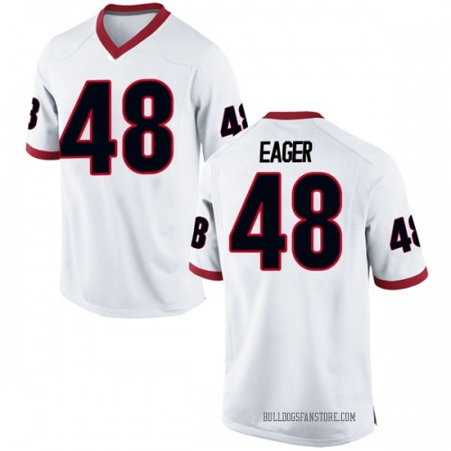 Men's Nike John Eager Georgia Bulldogs Game White Football College Jersey