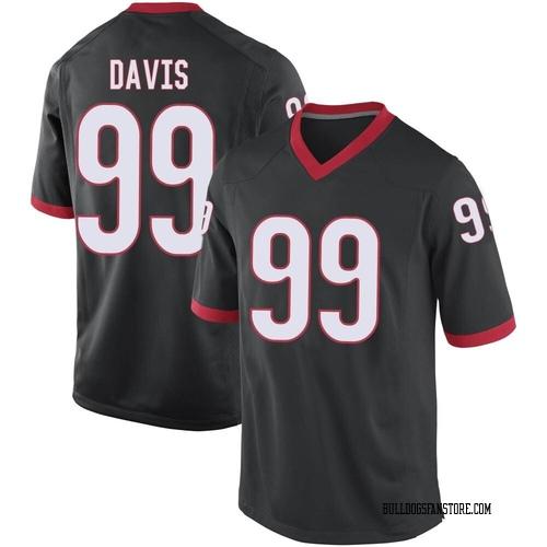 Men's Nike Jordan Davis Georgia Bulldogs Replica Black Football College Jersey