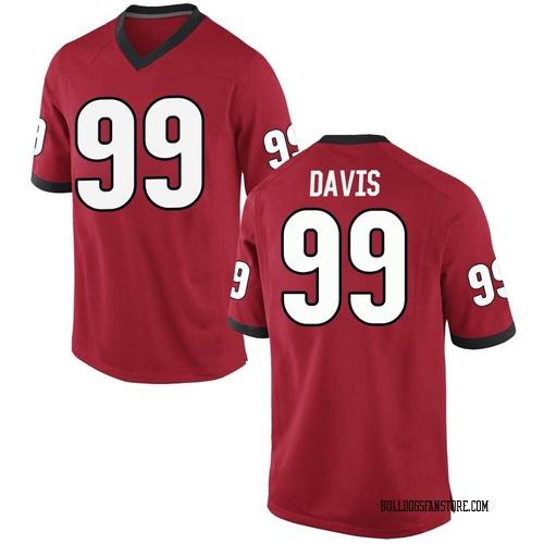 Men's Nike Jordan Davis Georgia Bulldogs Replica Red Football College Jersey