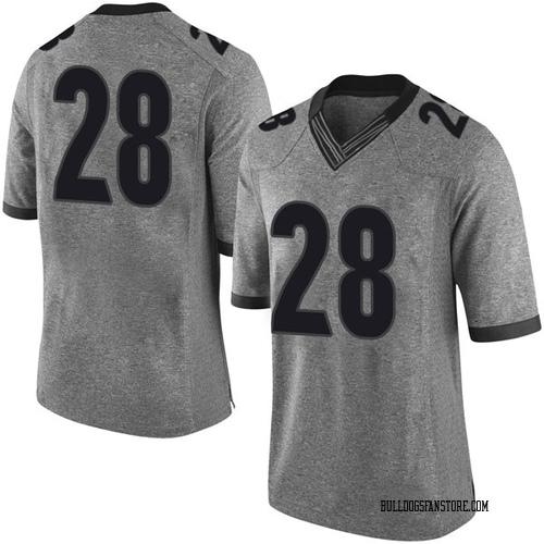 Men's Nike KJ Smith Georgia Bulldogs Limited Gray Football College Jersey
