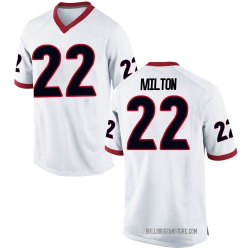 Men's Nike Kendall Milton Georgia Bulldogs Replica White Football College Jersey