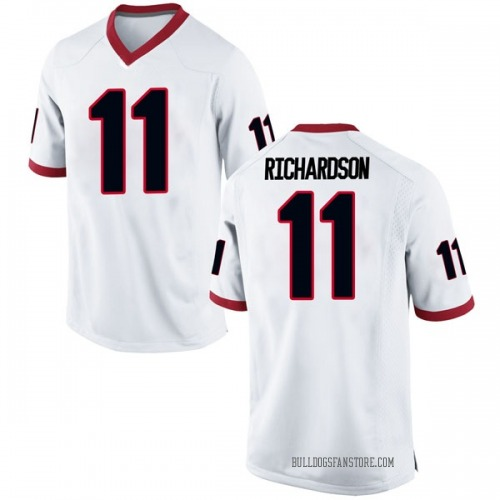 Men's Nike Keyon Richardson Georgia Bulldogs Game White Football College Jersey