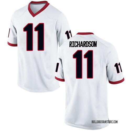 Men's Nike Keyon Richardson Georgia Bulldogs Game White Football College Jersey