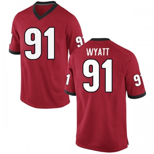 Men's Nike Kolby Wyatt Georgia Bulldogs Game Red Football College Jersey