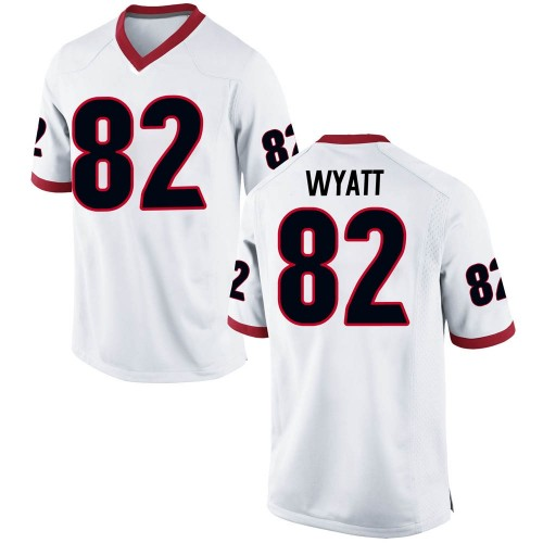 Men's Nike Kolby Wyatt Georgia Bulldogs Game White Football College Jersey