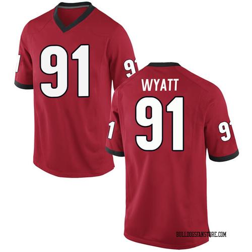 Men's Nike Kolby Wyatt Georgia Bulldogs Replica Red Football College Jersey