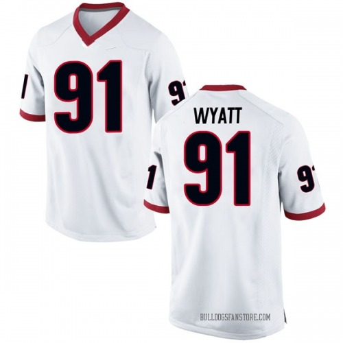 Men's Nike Kolby Wyatt Georgia Bulldogs Replica White Football College Jersey