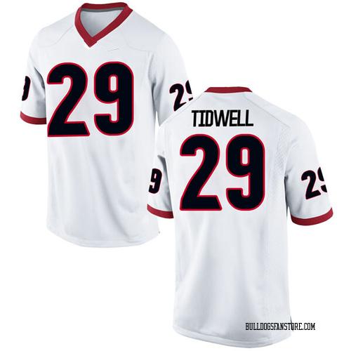 Men's Nike Lofton Tidwell Georgia Bulldogs Replica White Football College Jersey