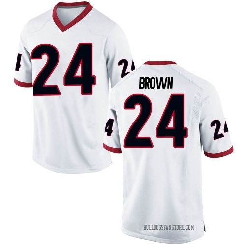 Men's Nike Matthew Brown Georgia Bulldogs Game White Football College Jersey
