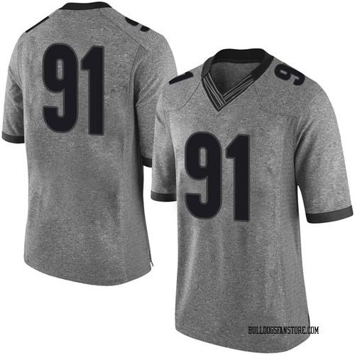 Men's Nike Mike Dangola Georgia Bulldogs Limited Gray Football College Jersey