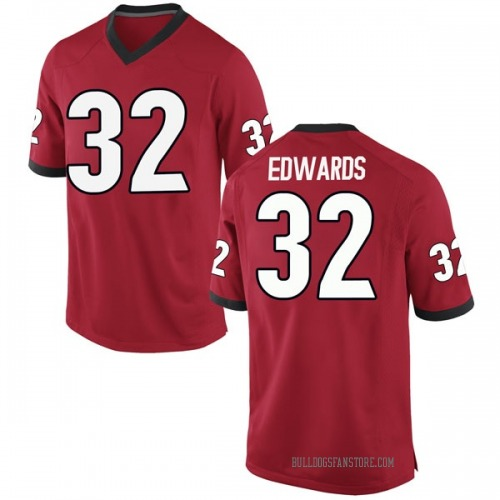 Men's Nike Mike Edwards Georgia Bulldogs Game Red Football College Jersey