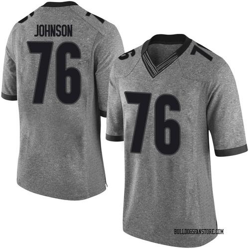 Men's Nike Miles Johnson Georgia Bulldogs Limited Gray Football College Jersey