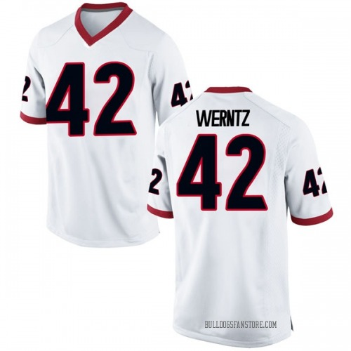 Men's Nike Mitchell Werntz Georgia Bulldogs Game White Football College Jersey