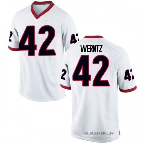 Men's Nike Mitchell Werntz Georgia Bulldogs Replica White Football College Jersey