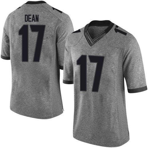 Men's Nike Nakobe Dean Georgia Bulldogs Limited Gray Football College Jersey