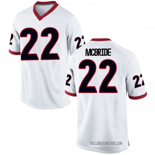 Men's Nike Nate McBride Georgia Bulldogs Replica White Football College Jersey