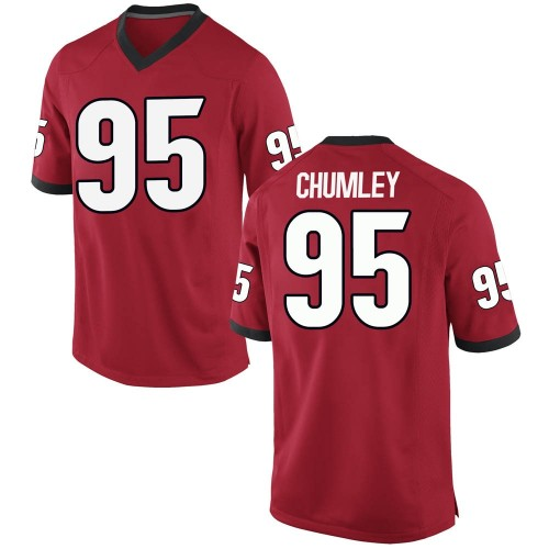 Men's Nike Noah Chumley Georgia Bulldogs Game Red Football College Jersey