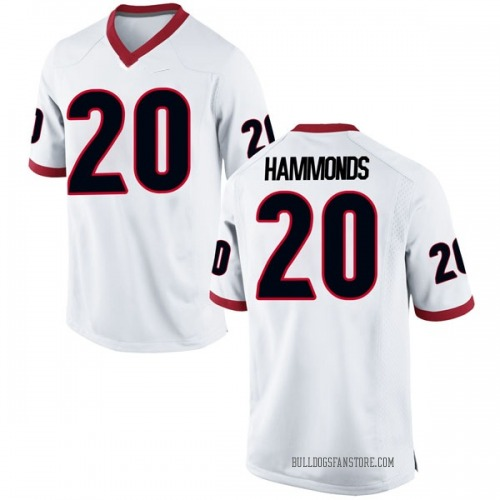 Men's Nike Rayshaun Hammonds Georgia Bulldogs Replica White Football College Jersey