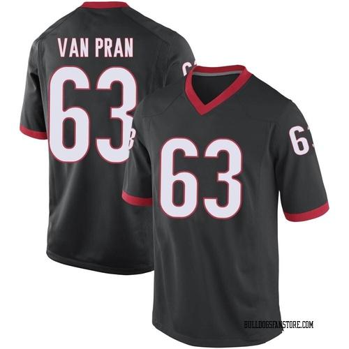 Men's Nike Sedrick Van Pran Georgia Bulldogs Game Black Football College Jersey