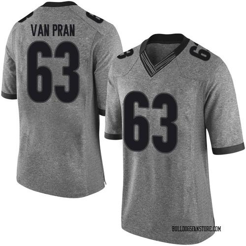 Men's Nike Sedrick Van Pran Georgia Bulldogs Limited Gray Football College Jersey