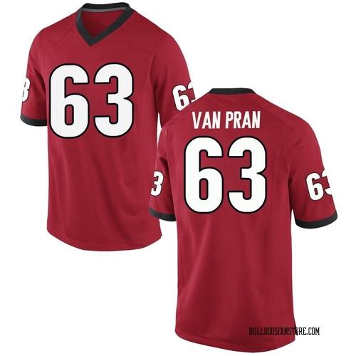 Men's Nike Sedrick Van Pran Georgia Bulldogs Replica Red Football College Jersey