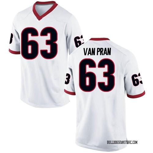 Men's Nike Sedrick Van Pran Georgia Bulldogs Replica White Football College Jersey