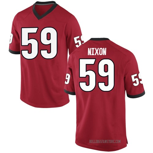 Men's Nike Steven Nixon Georgia Bulldogs Game Red Football College Jersey