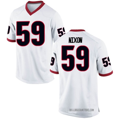 Men's Nike Steven Nixon Georgia Bulldogs Game White Football College Jersey